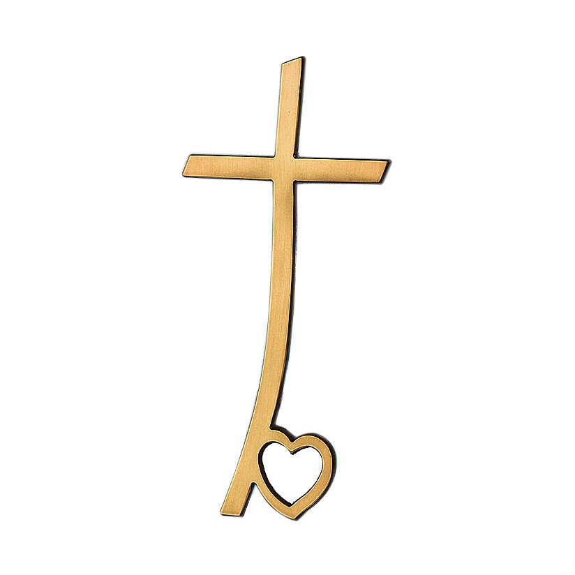Croce bronzo lucido con cuore alla base 10 cm per ESTERNO 3