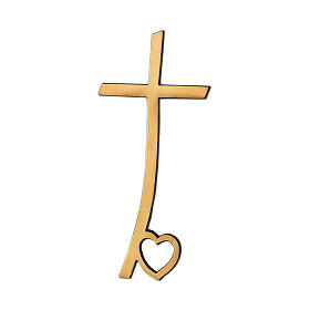 Bronze cross with a heart on the base 4 inc for OUTDOOR USE s1