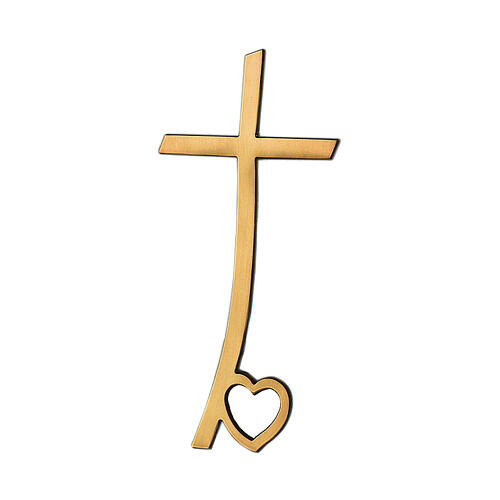 Bronze cross with a heart on the base 4 inc for OUTDOOR USE 1