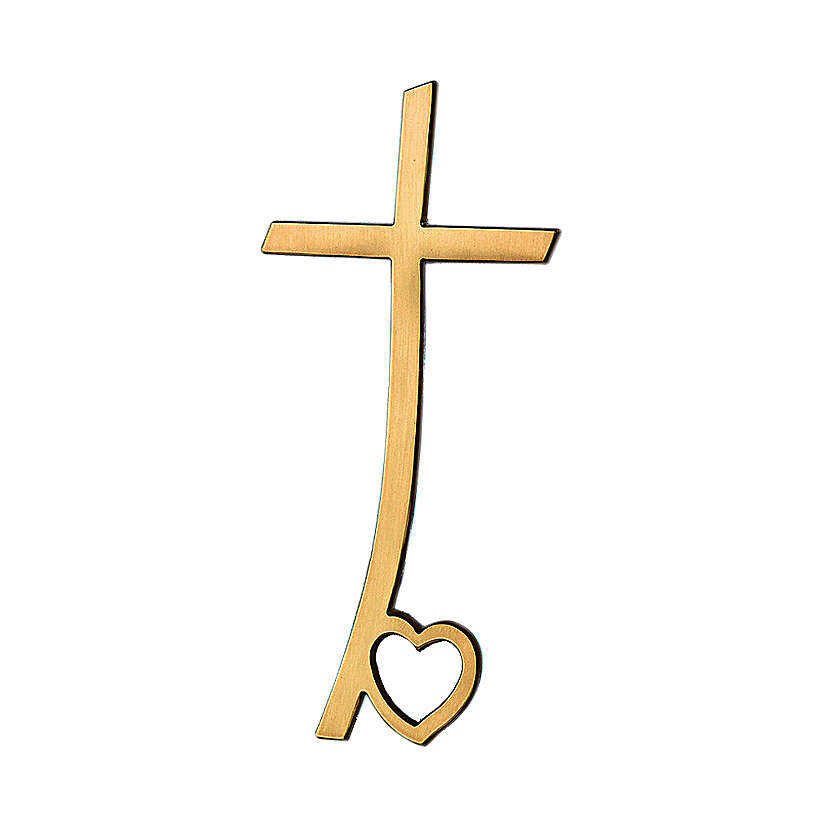 Crucifix in glossy bronze with heart on base 40 cm for OUTDOOR USE 3
