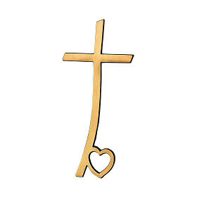 Crucifix in glossy bronze with heart on base 40 cm for OUTDOOR USE s1