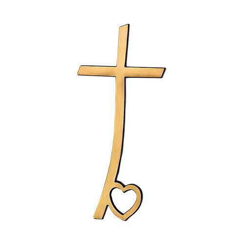 Crucifix bronze brillant avec coeur aux pieds 40 cm pour EXTÉRIEUR 1