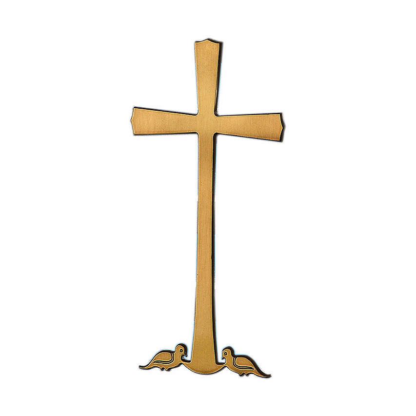 Croce bronzo colombe alla base 10 cm per ESTERNO 3