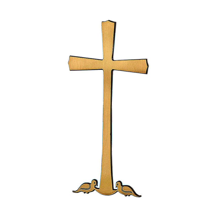 Crocefisso bronzo lucido colombe alla base 30 cm per ESTERNO 3