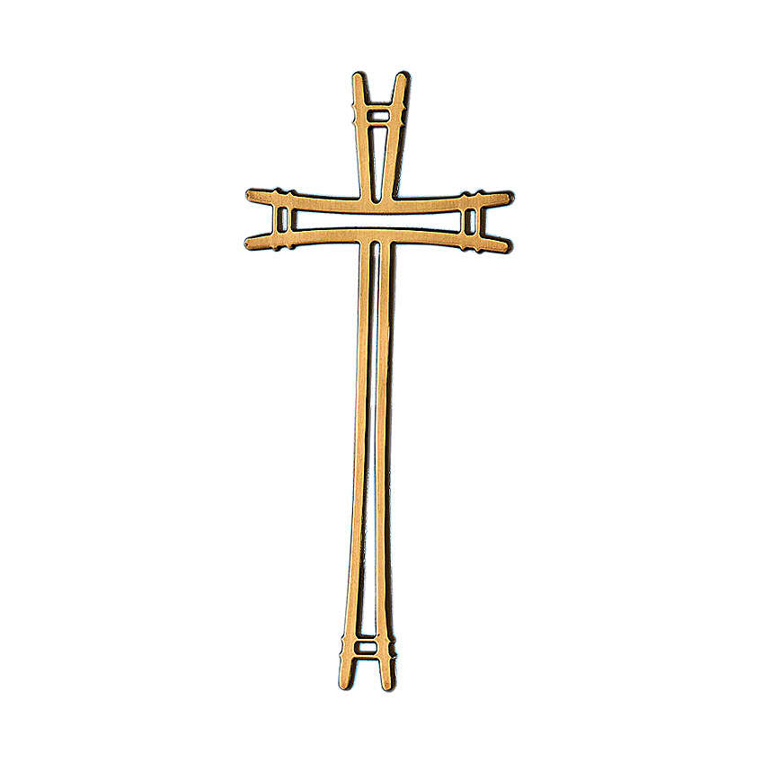 Crucifijo bronce lúcido con líneas simples 40 cm para EXTERIOR 3