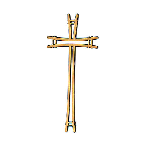 Crucifijo bronce lúcido con líneas simples 40 cm para EXTERIOR 1