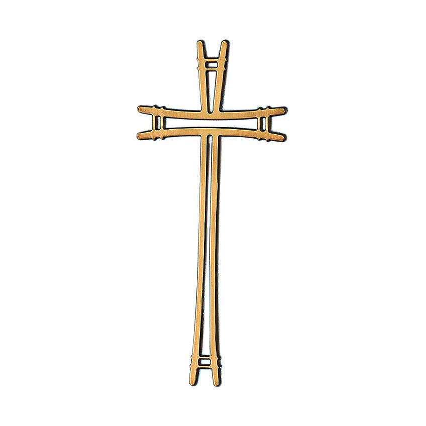 Crocefisso bronzo lucido con linee semplici 40 cm per ESTERNO 3