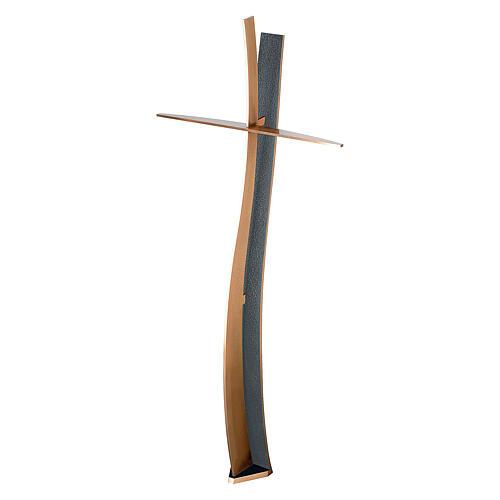 Crocefisso bronzo finitura BLUES ondulato 60 cm per ESTERNO 1