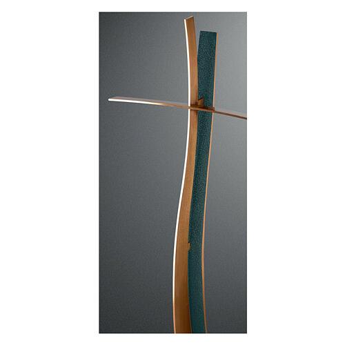 Croix bronze finition FOLK style moderne 90 cm pour EXTÉRIEUR 1
