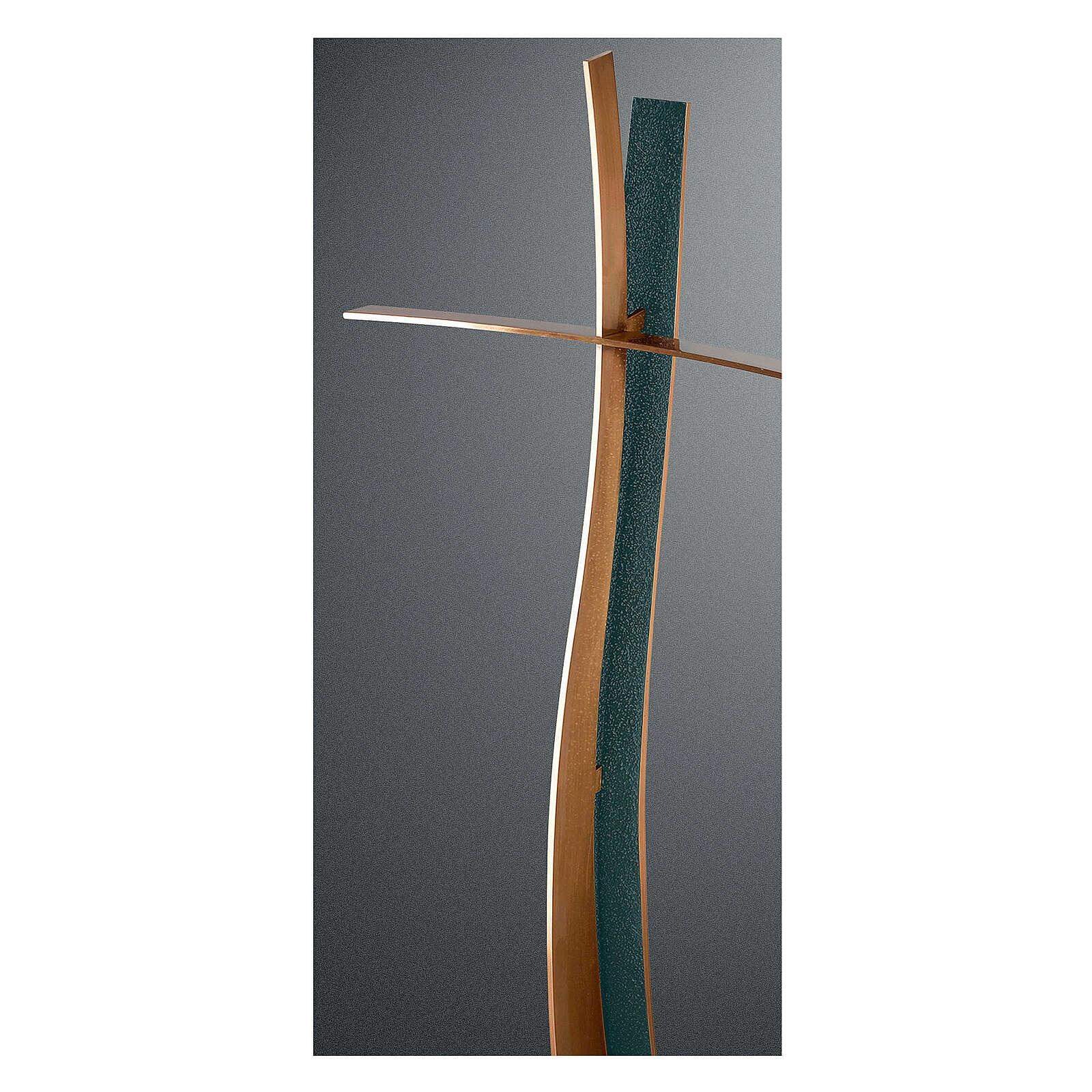 Croce bronzo finitura FOLK stile moderno 90 cm per ESTERNO 3