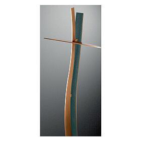 Cruz ondulada bronce acabado FOLK 90 cm para EXTERIOR s1