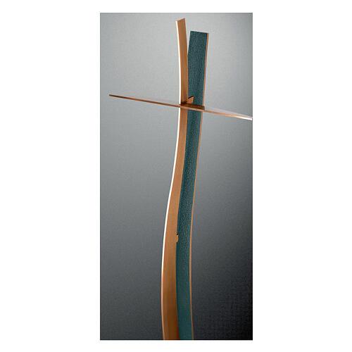 Cruz ondulada bronce acabado FOLK 90 cm para EXTERIOR 1