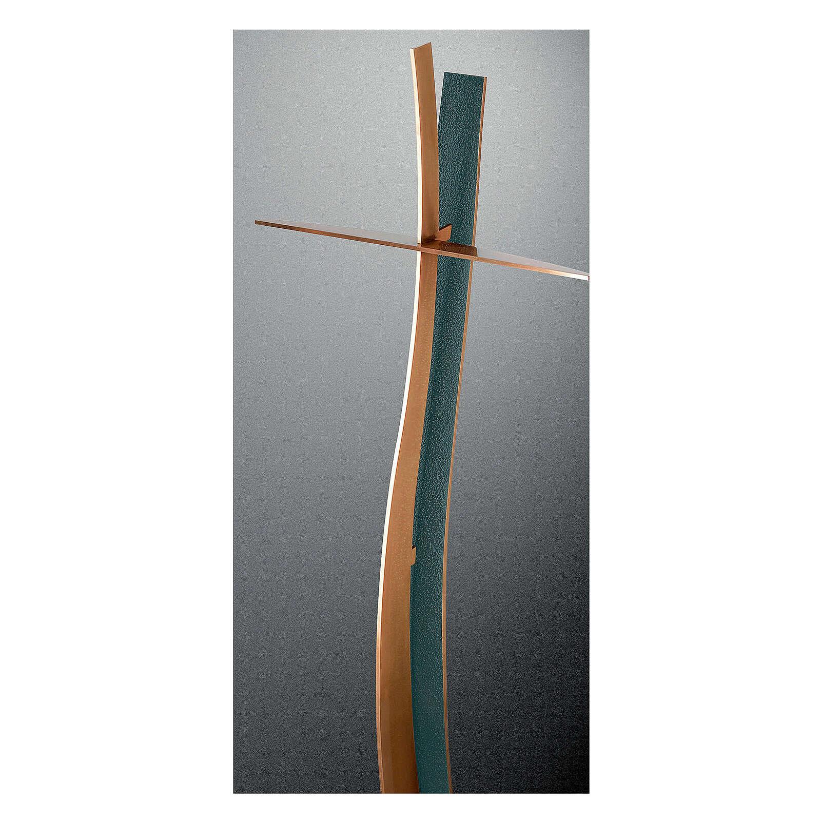 Croce ondulata bronzo finitura FOLK 90 cm per ESTERNO 3