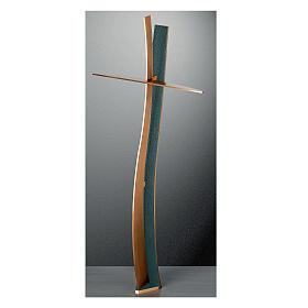 Crucifijo bronce acabado FOLK ondulado 60 cm para EXTERIOR s1