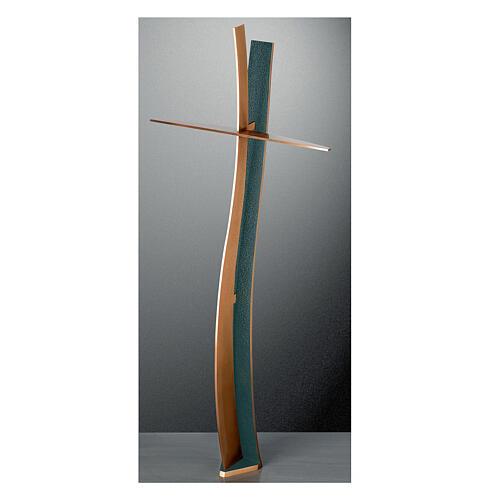 Crucifijo bronce acabado FOLK ondulado 60 cm para EXTERIOR 1