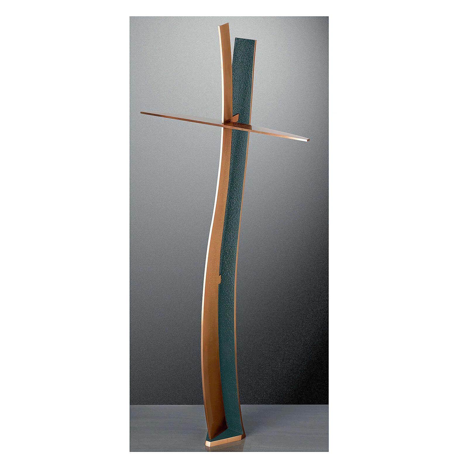 Crocefisso bronzo finitura FOLK ondulato 60 cm per ESTERNO 3