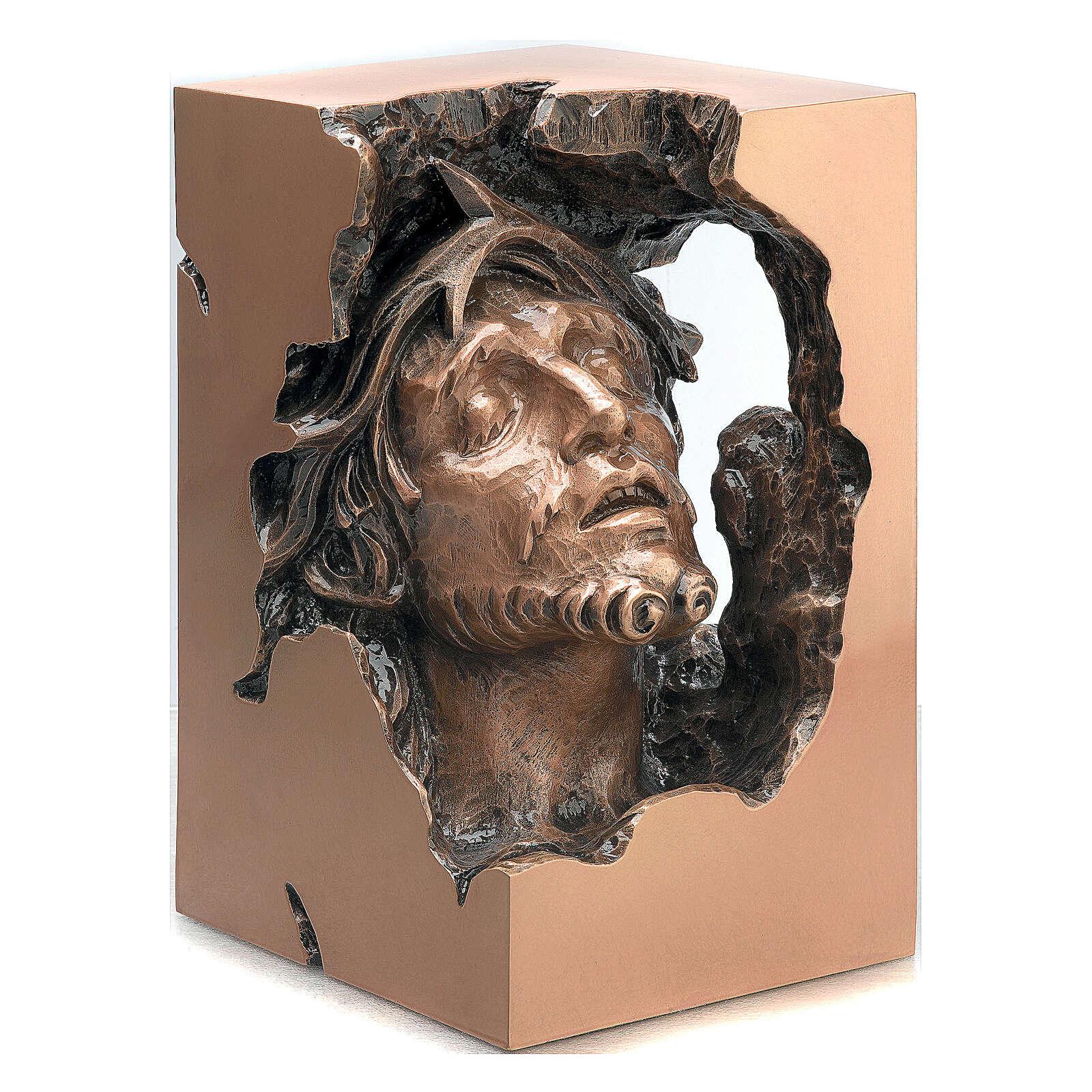 Busto Jesús Cristo con corona de espinas bronce 34 cm para EXTERIOR 4