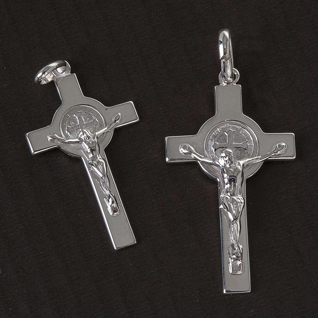 Kreuz Heilig Benedictus Medaille Silber glaenzend 4