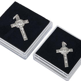 Kreuz Heilig Benedictus Medaille Silber glaenzend s5