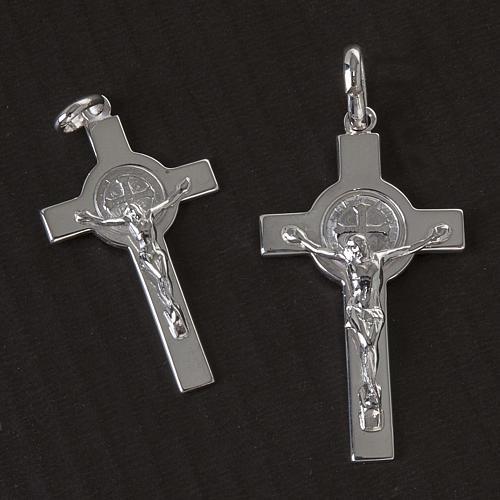 Kreuz Heilig Benedictus Medaille Silber glaenzend 2