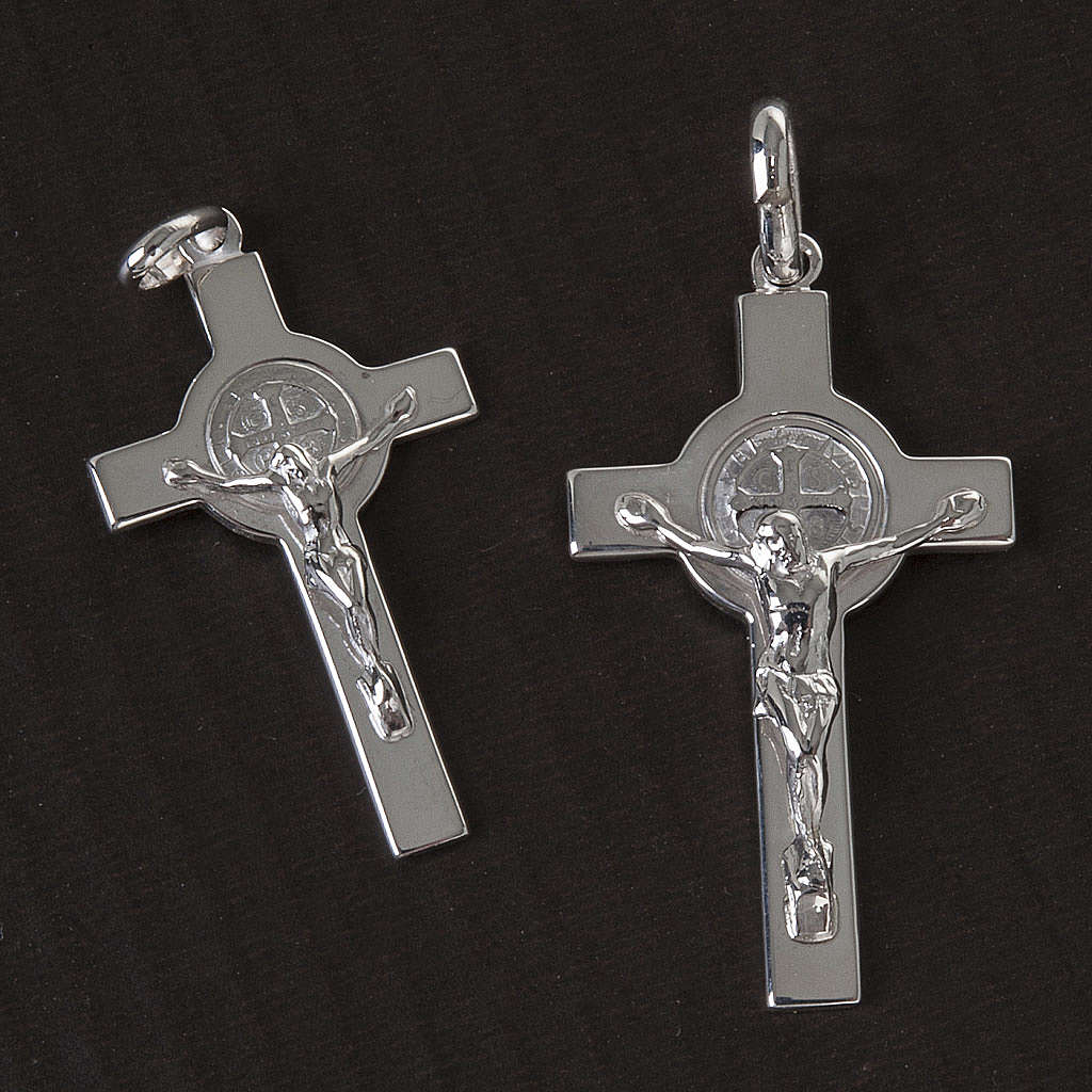 Croce San Benedetto Pendente  argento lucido 4