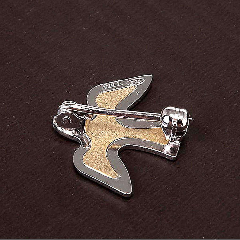 Dove brooch in bicoloured silver 4