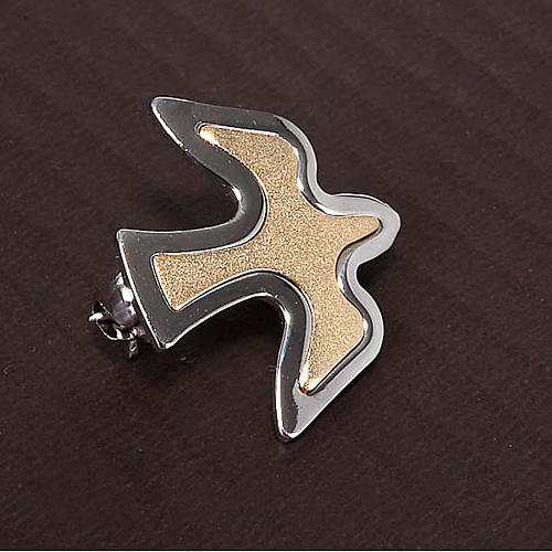 Dove brooch in bicoloured silver 2