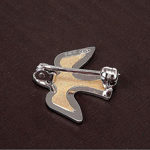 Dove brooch in bicoloured silver 3