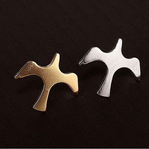 Button dove brooch in silver 2
