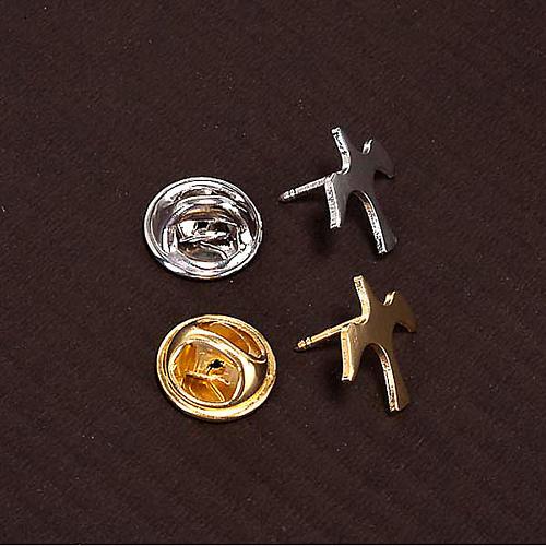 Button dove brooch in silver 3