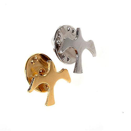 Button dove brooch in silver 1