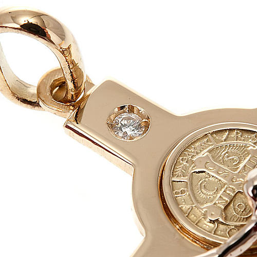 Saint Benedict cross 18K gold and diamond 2