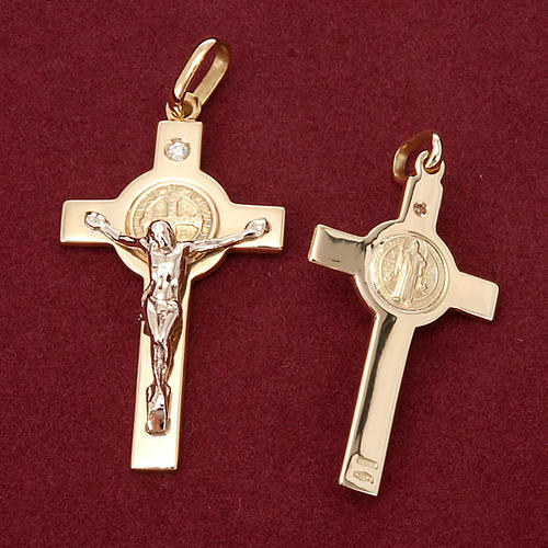 Saint Benedict cross 18K gold and diamond 3