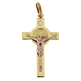 Croce San Benedetto Pendente Oro e diamante s1