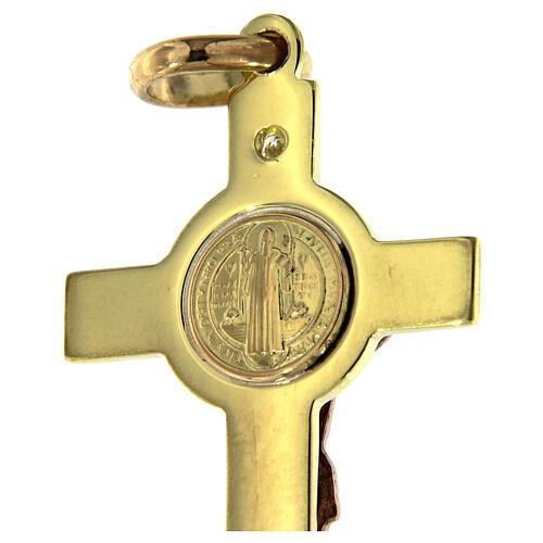 Croce San Benedetto Pendente Oro e diamante 6