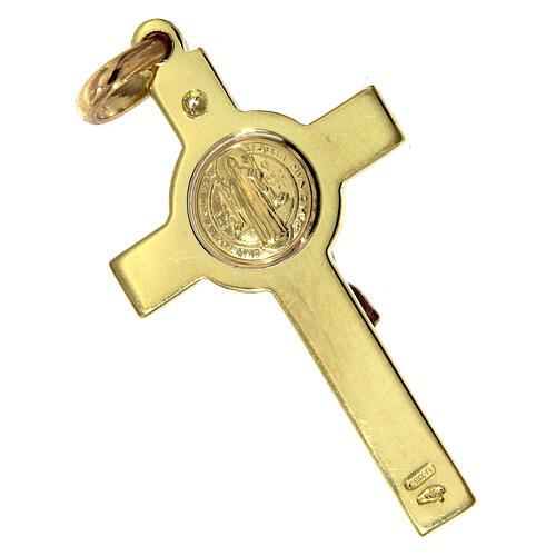 Croce San Benedetto Pendente Oro e diamante 7