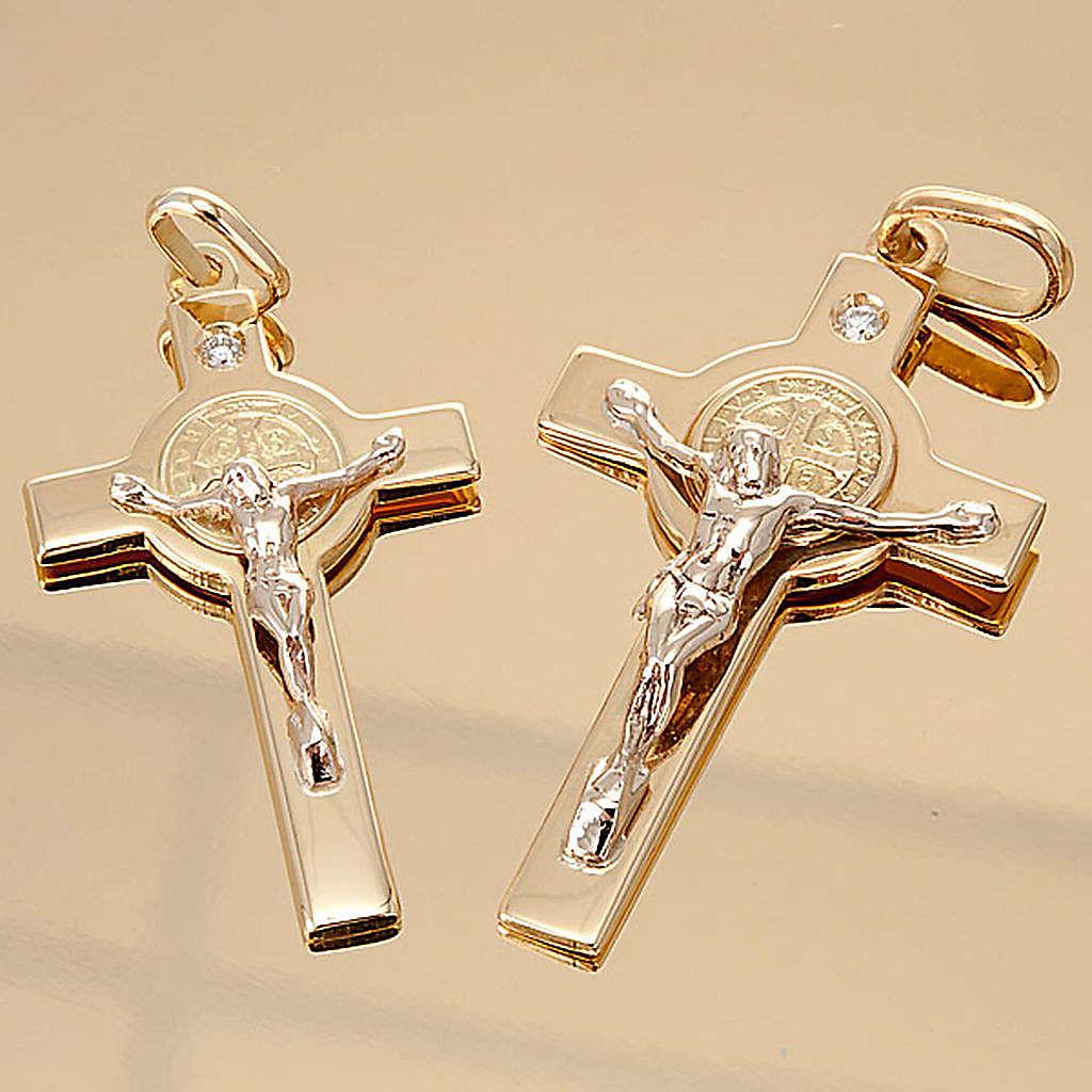 Krzyżyk Świętego Benedykta zawieszka złoto i diament 4