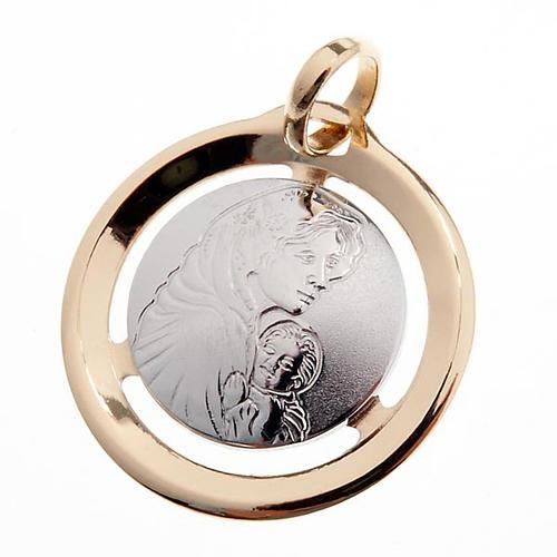 Virgen con niño medalla colgante oro 750/00 blanco y amar 1
