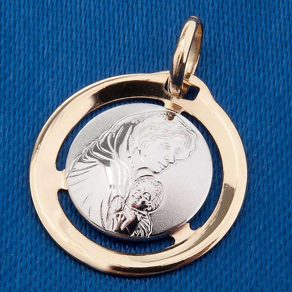 Madonna con bambino medaglia pendente oro 750/00 bianco e giallo 4