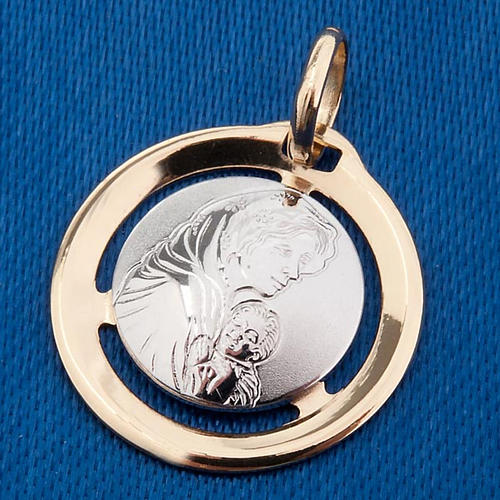 Madonna con bambino medaglia pendente oro 750/00 bianco e giallo 3