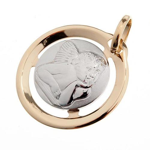 Angelo di Raffaello medaglia tonda oro 750/00 - gr. 1,3 1