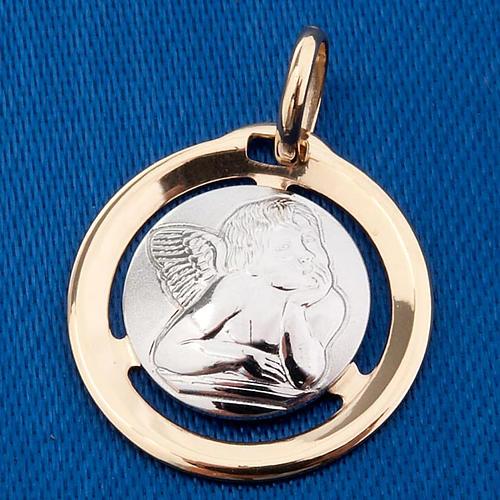 Angelo di Raffaello medaglia tonda oro 750/00 - gr. 1,3 3