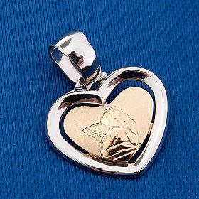 Gold heart shaped pendant with Raffaello's angel - 0,90 gr s3
