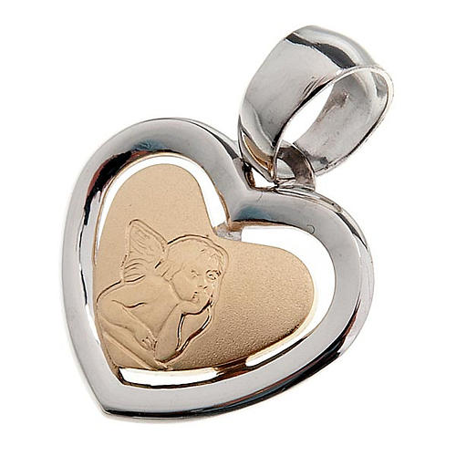 Gold heart shaped pendant with Raffaello's angel - 0,90 gr 1