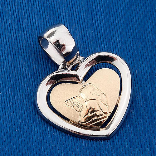 Gold heart shaped pendant with Raffaello's angel - 0,90 gr 3