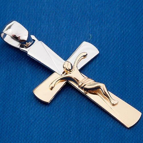 Crocifisso pendente oro bicolore 750/00 - gr. 3,10 3