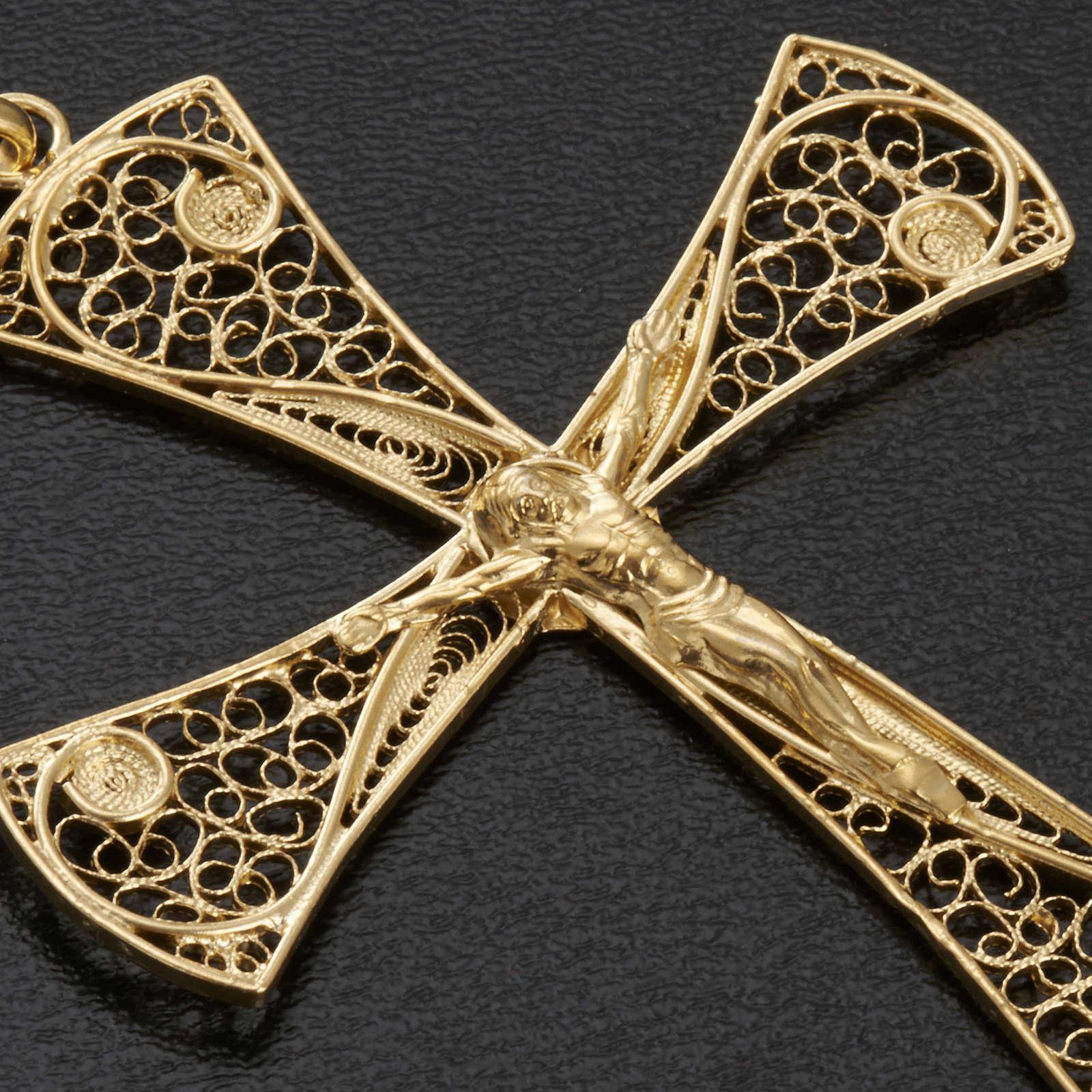 Cruz filigrana de plata 800 con baño de oro, 5,47gr 4