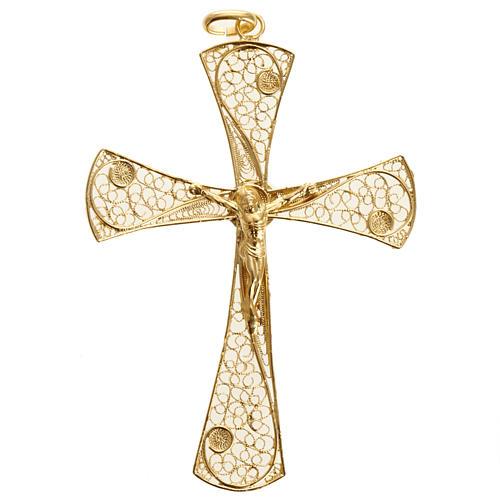 Cruz filigrana de plata 800 con baño de oro, 5,47gr 2