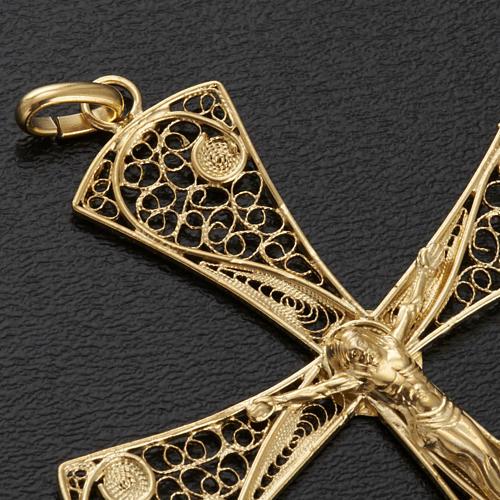 Cruz filigrana de plata 800 con baño de oro, 5,47gr 5