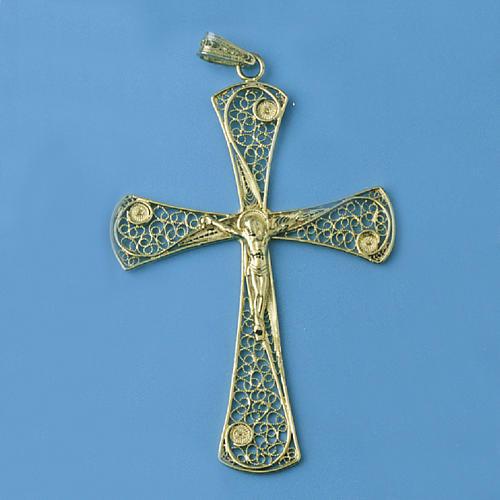 Croix pendentif filigrane d'argent 800 bain d'or 5,4 gr 1